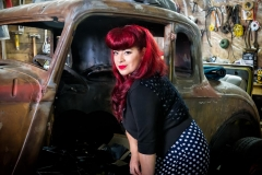 Bright red haired pinup model